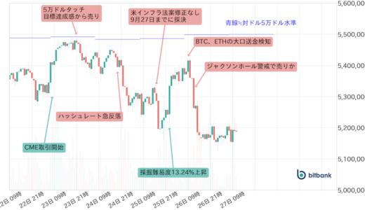 ビットコイン相場、来週も週央からの不安定な値動きに注意したい