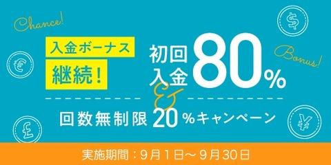 【朗報】 cryptoGT、初回入金80% & 回数無制限20%キャンペーン実施中!